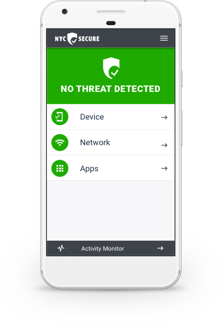 The NYC Secure App showing that no cyber threats are detected